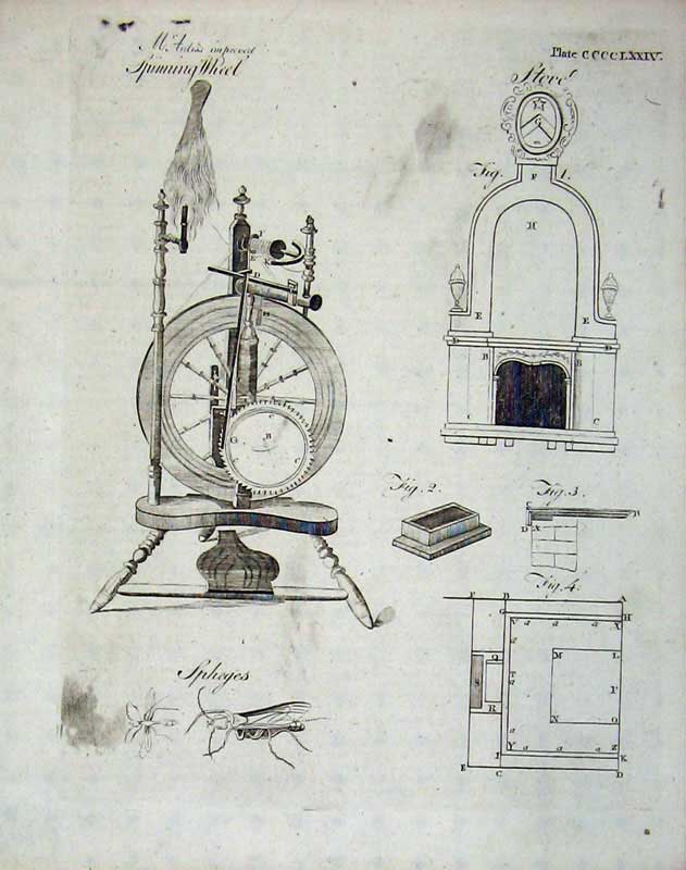 Print Encyclopaedia Britannica Spinning Wheel Stove Insects 125E104 Old Original