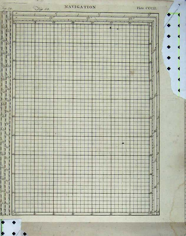 Print Encyclopaedia Britannica Navigation Chart Grid Table 213E104 Old Original