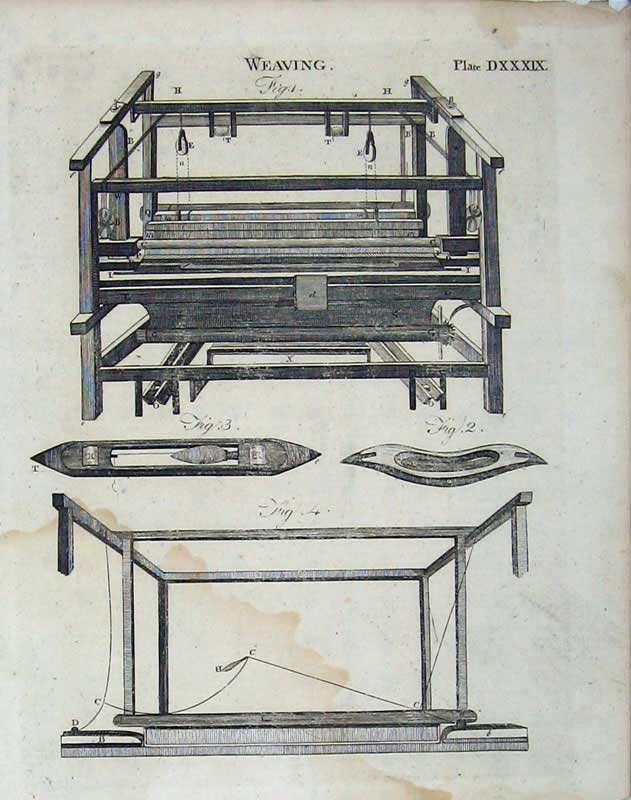 Print Encyclopaedia Britannica Weaving Machinery Instruments 230E104 Old Original