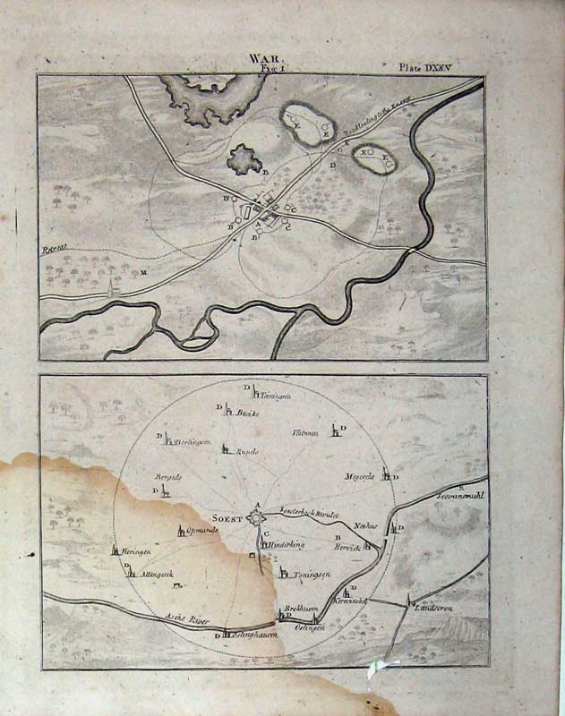 Print Encyclopaedia Britannica War Plan Map Country Battle 244E104 Old Original