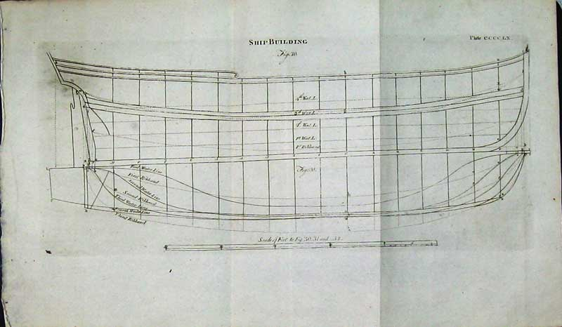 Print Encyclopaedia Britannica Ship Building Plan Diagrams 104E105 Old Original