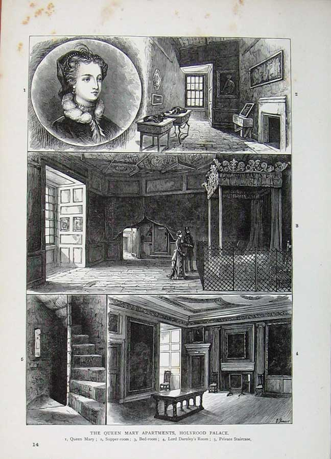 Print Edinburgh 1882 Queen Mary Apartments Holyrood Palace 103E113 Old Original