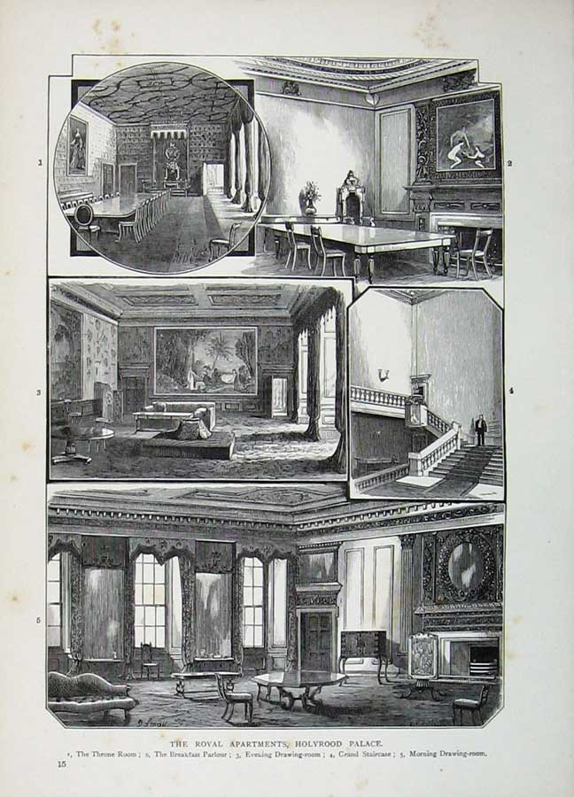 Print Edinburgh 1882 Royal Apartments Holyrood Palace Throne 105E113 Old Original