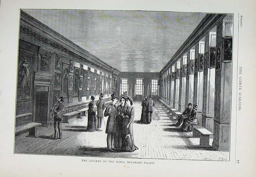 Print Edinburgh 1882 Gallery Kings Holyrood Palace People 107E113 Old Original