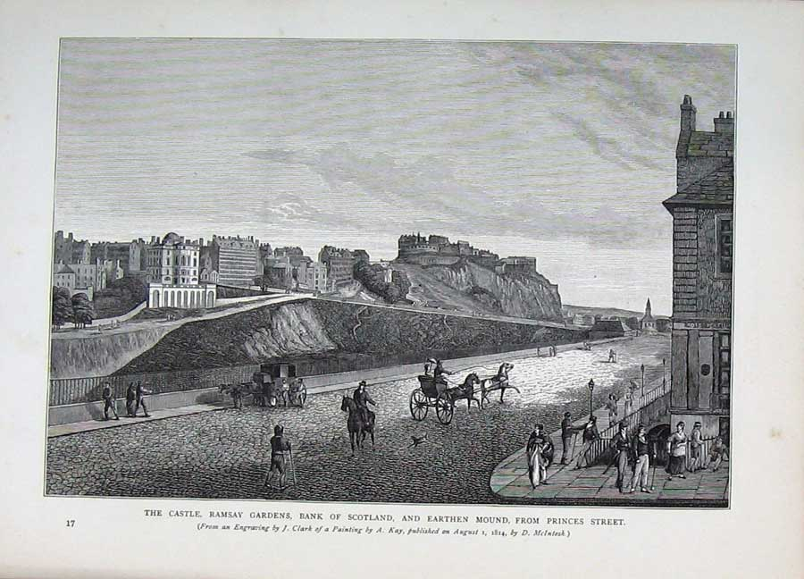 Print Edinburgh 1882 Castle Ramsay Garden Bank Princes Street 109E113 Old Original