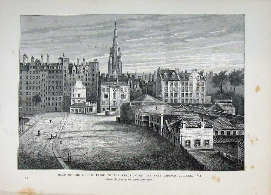 Print Edinburgh 1882 Mound Free Church College Buildings 111E113 Old Original