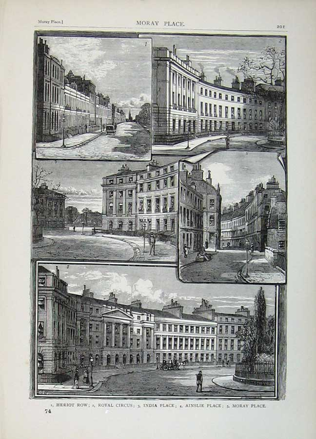Print Edinburgh 1882 Heriot Row Royal Circus Moray Ainslie 114E113 Old Original