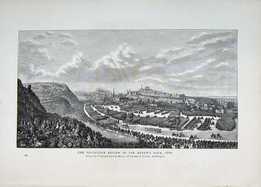 Print Edinburgh 1882 Volunteer Review Ta Army Queen'S Park 118E113 Old Original
