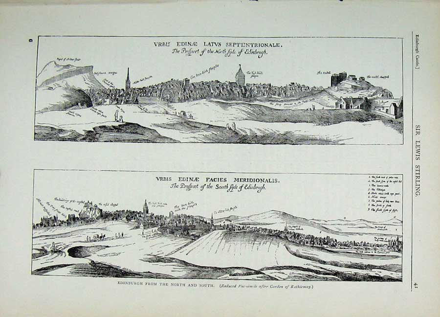 Print View City Edinburgh 1882 Facsimile Scotland Buildings 131E113 Old Original