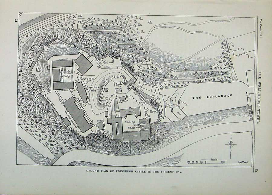 Print Edinburgh 1882 Ground Plan Castle Citadel Esplanade 137E113 Old Original
