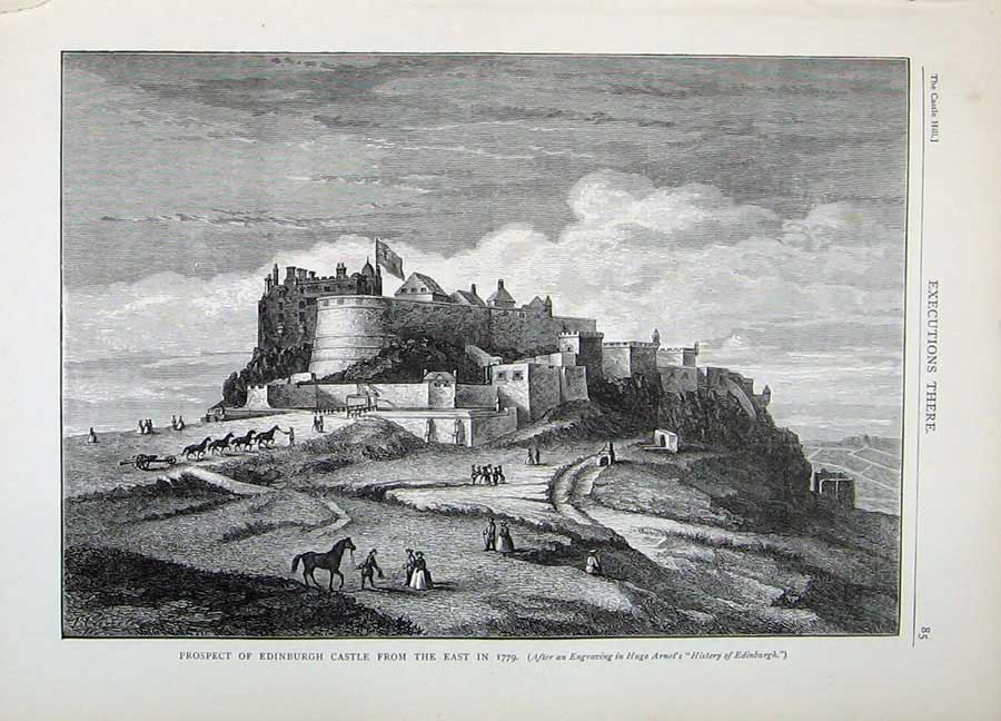 Print View Prospect Castle Edinburgh 1882 Hugo Arnot Scotland 138E113 Old Original