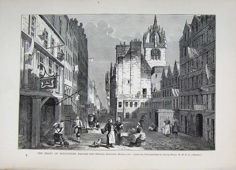Print Edinburgh 1882 Street Buildings Midlothian Scotland 141E113 Old Original