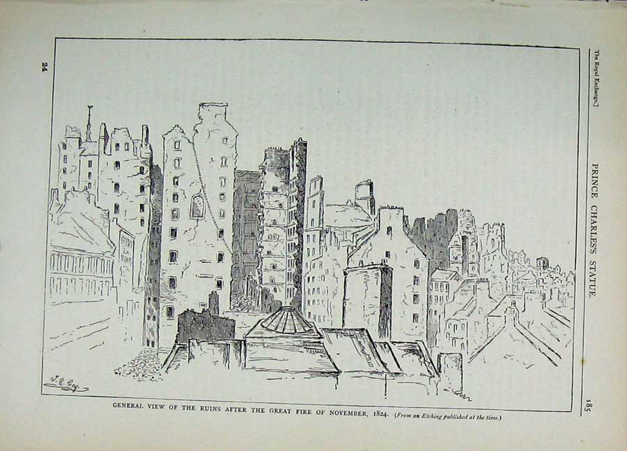 Print Edinburgh 1882 General View Ruins Great Fire Scotland 145E113 Old Original