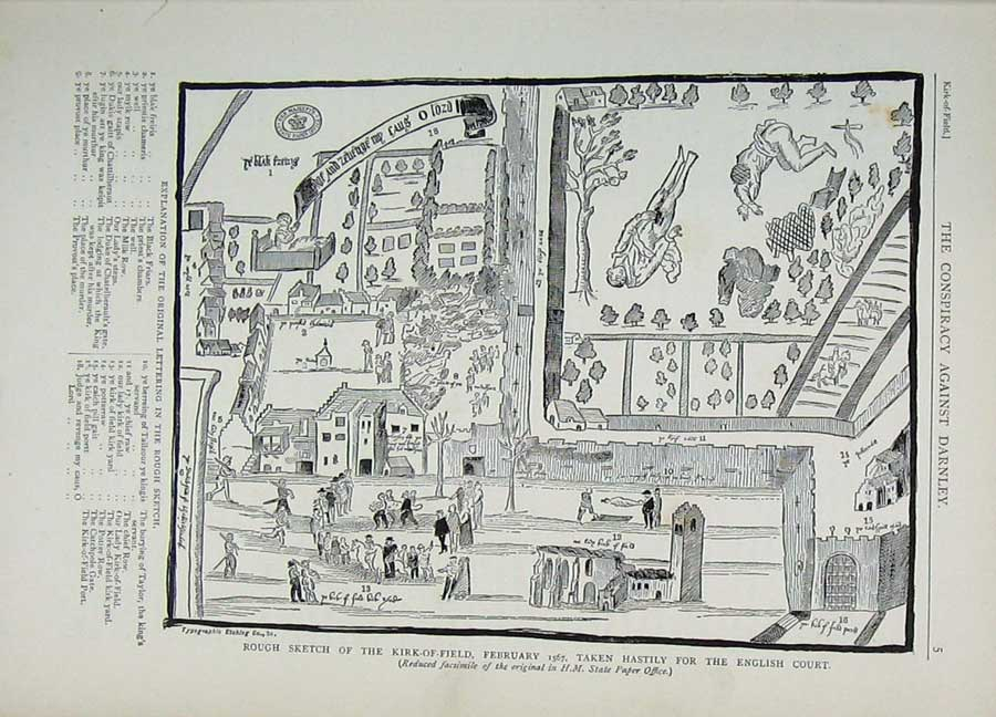 Print Edinburgh 1882 Sketch Kirk-Of-Field English Court Plan 158E113 Old Original