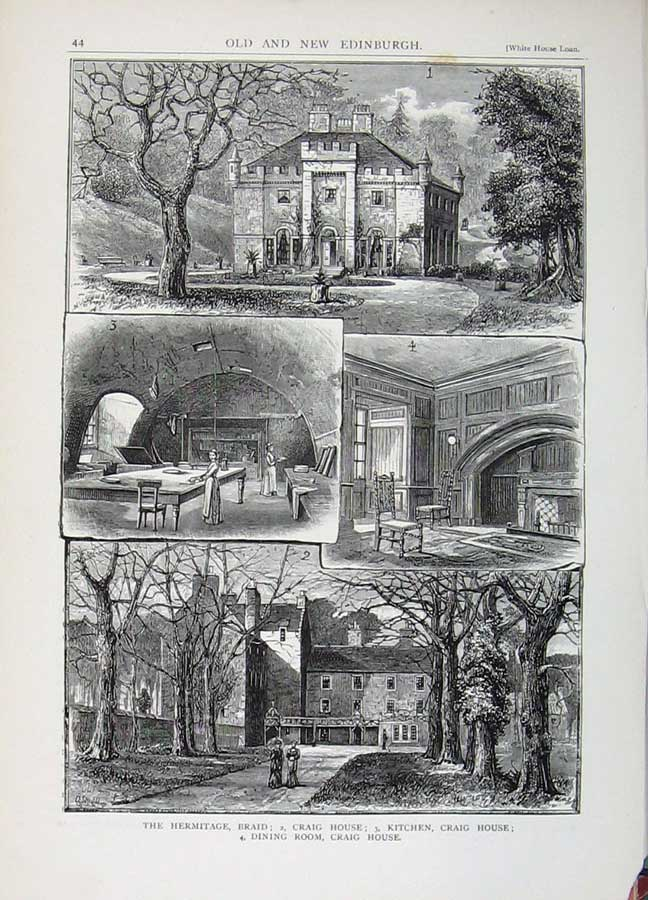 Print Edinburgh 1882 Hermitage Braid Craig House Kitchen Room 162E113 Old Original