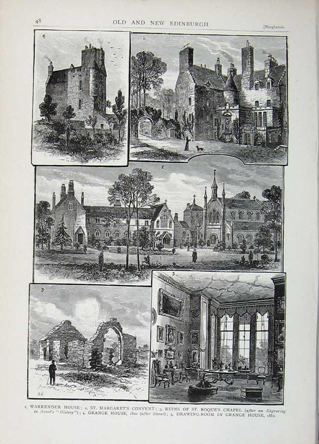 Print Edinburgh 1882 Warrender House Convent Grange Roque 163E113 Old Original