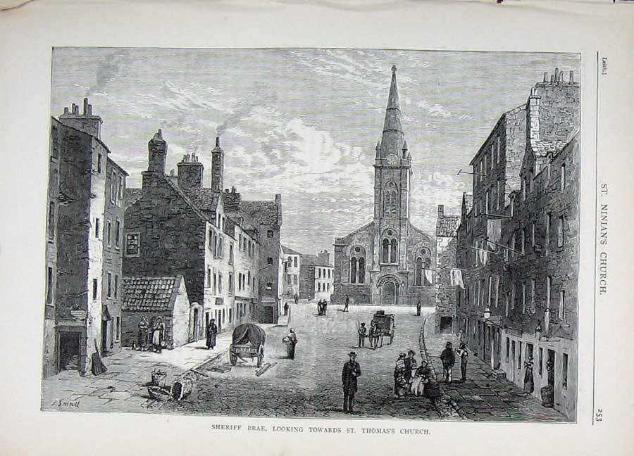 Print Edinburgh 1882 Sheriff Brae St Thomas Church Scotland 180E113 Old Original