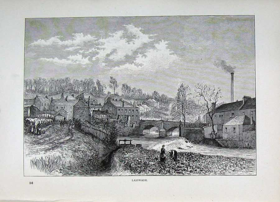 Print Edinburgh 1882 View Lasswade River Bridge Scotland 189E113 Old Original