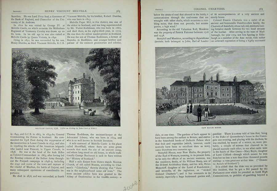 Print Edinburgh 1882 Melville Castle Hailes House Scotland 200Ae113 Old Original
