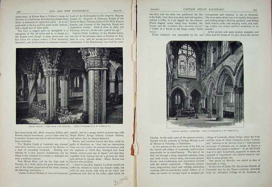 Print Edinburgh 1882 Roslin Chapel Chancel Interior Scotland 202Ae113 Old Original
