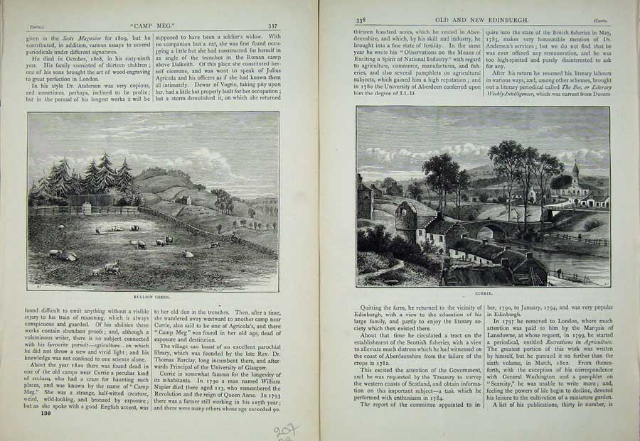 Print Edinburgh 1882 Rullion Green Currie River Bridge 207Ae113 Old Original