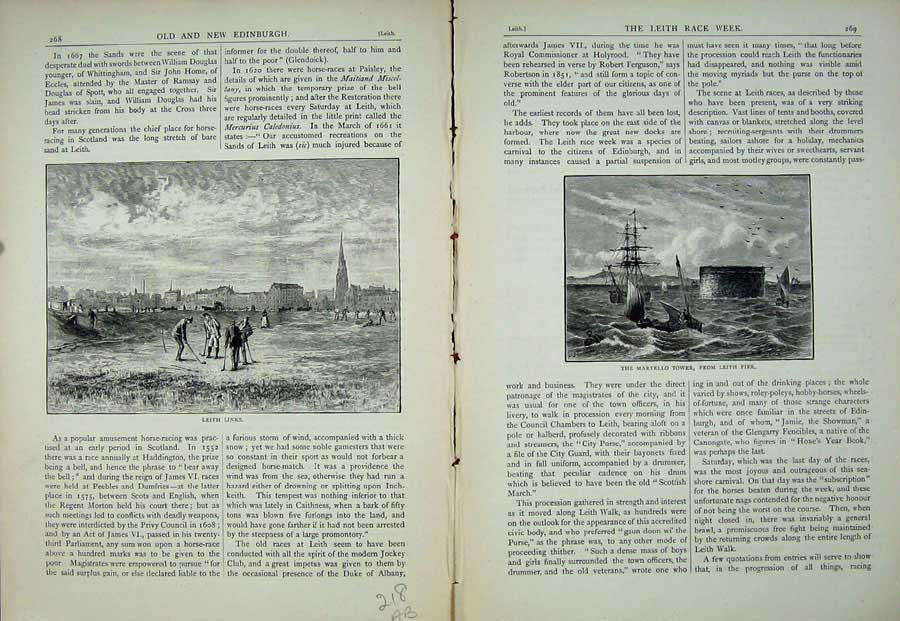 Print Edinburgh 1882 Leith Links Martello Tower Pier Scotland 218Ae113 Old Original