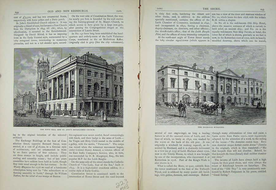 Print Edinburgh 1882 Town Hall John Church Exchange Buildings 223Ae113 Old Original