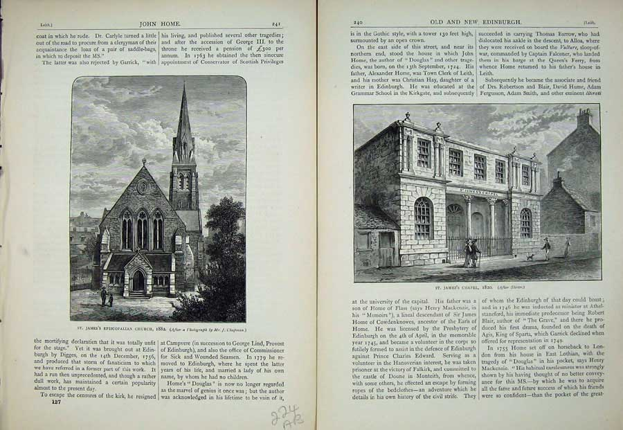 Print Edinburgh 1882 Jame'S Episcopalian Church Chapel 224Ae113 Old Original