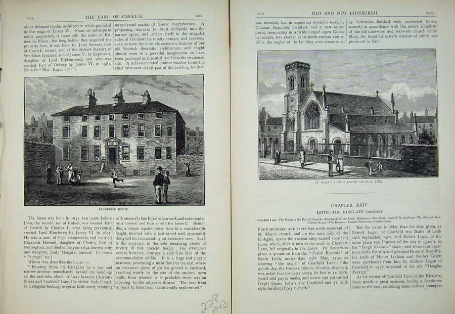 Print Edinburgh 1882 Balmerino House St Mary'S Church Leith 228Ae113 Old Original
