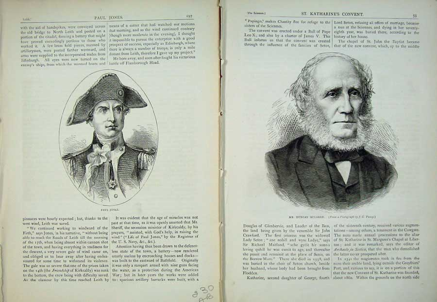 Print Edinburgh 1882 Paul Jones Duncan Mclaren Portrait Men 230Ae113 Old Original