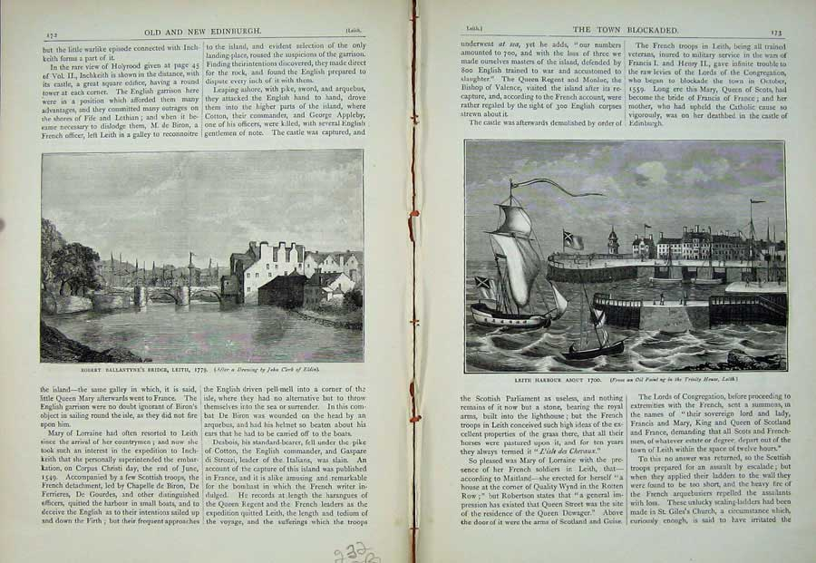 Print Edinburgh 1882 Robert Ballantyne'S Bridge Leith Harbour 232Ae113 Old Original