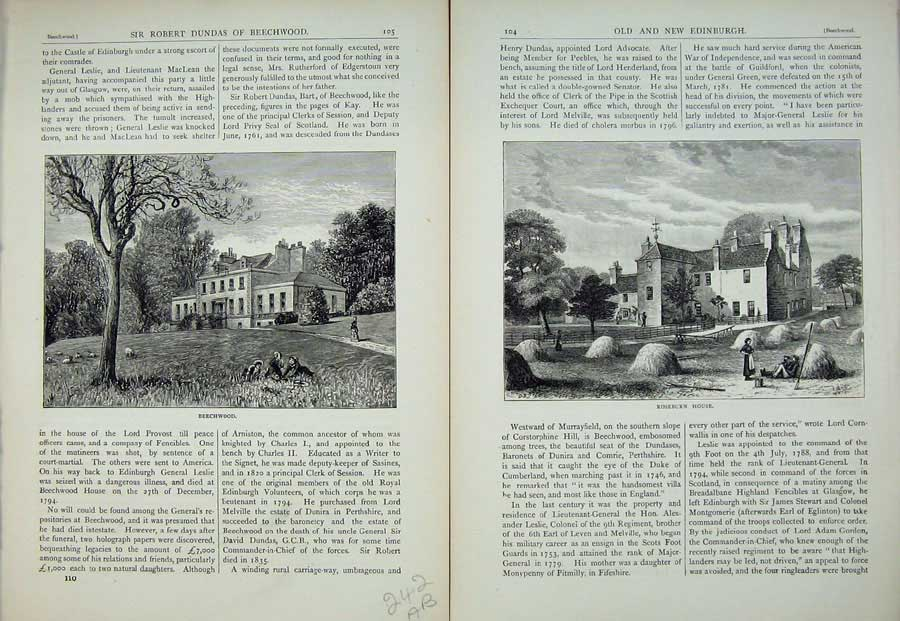 Print Edinburgh 1882 Beechwood Roseburn House Scotland 242Ae113 Old Original