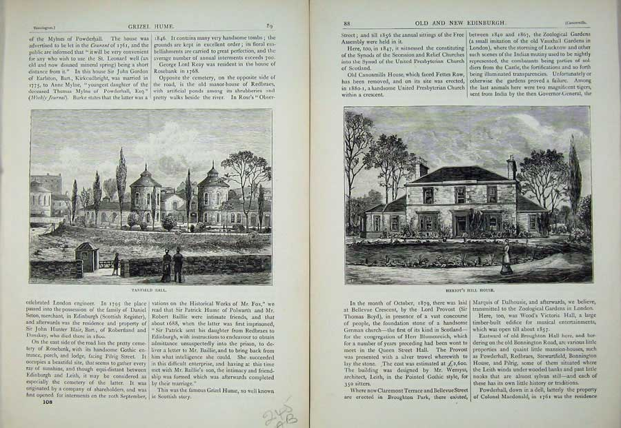 Print Edinburgh 1882 Tanfield Hall Heriot'S Hill House 245Ae113 Old Original