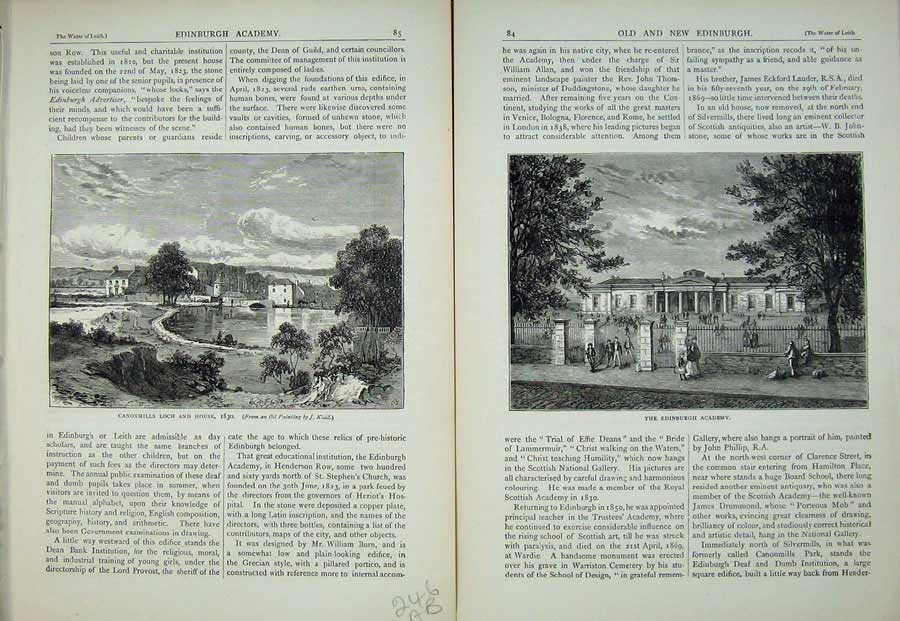 Print Edinburgh 1882 Canonmills Loch House Academy School 246Ae113 Old Original