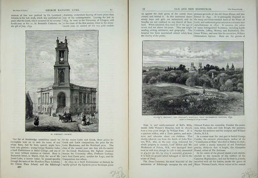 Print Edinburgh 1882 St Stephen'S Church Hospital Orphan'S 247Ae113 Old Original