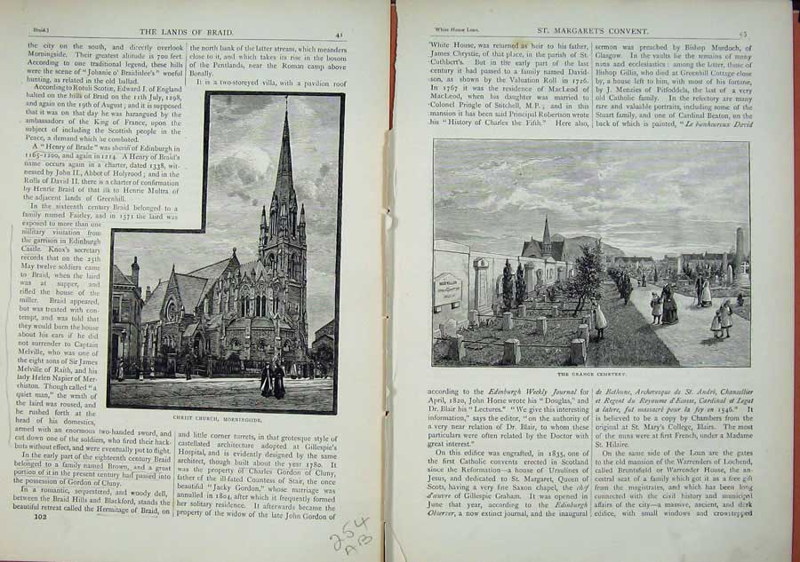 Print Edinburgh 1882Christ Church Morningside Cemetery Grange 254Ae114 Old Original