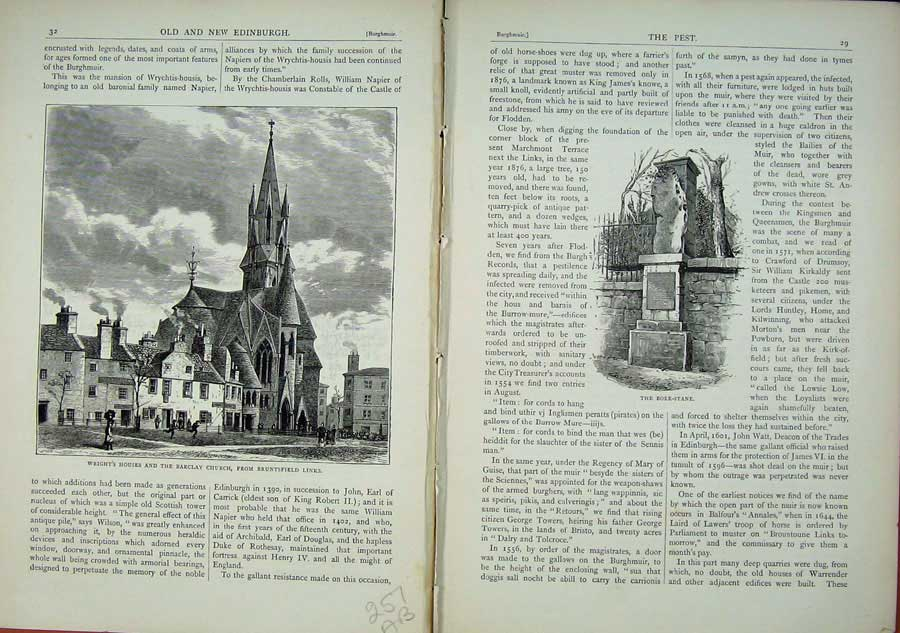 Print Edinburgh 1882 Barclay Church Wright Houses Bore-Stane 257Ae114 Old Original