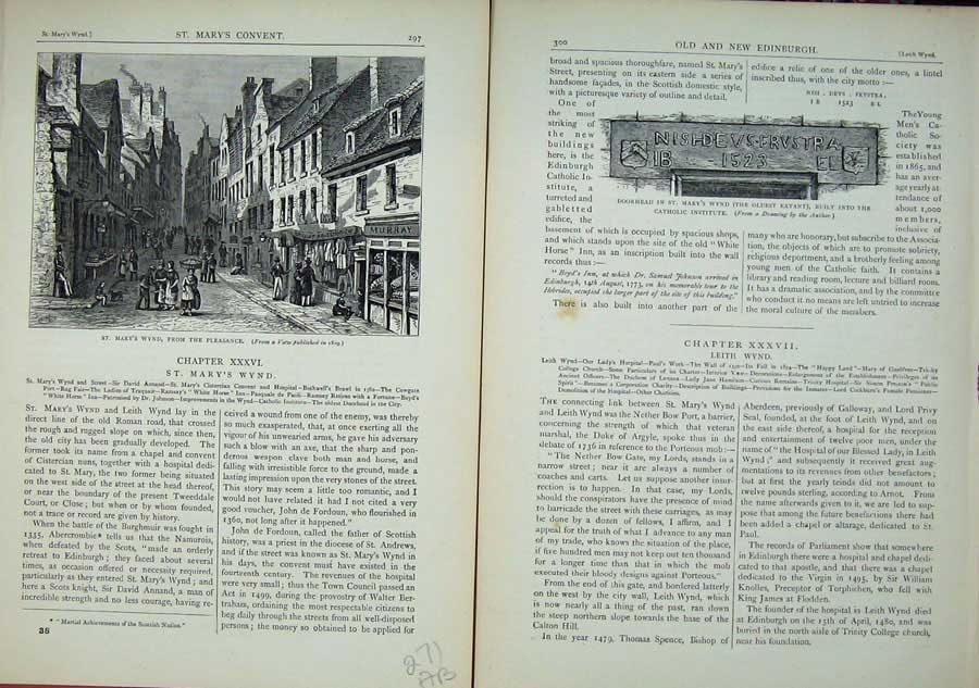 Print Edinburgh 1882 St Mary'S Wynd Pleasance Doorhead 271Ae114 Old Original