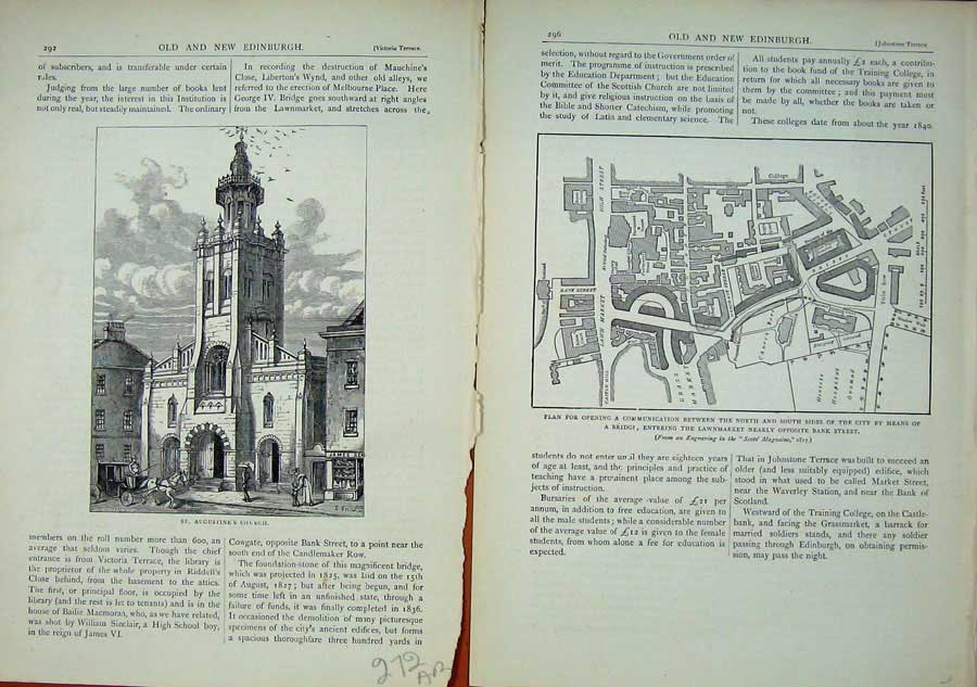 Print Edinburgh 1882 Augustine'S Church Plan Lawnmarket 272Ae114 Old Original
