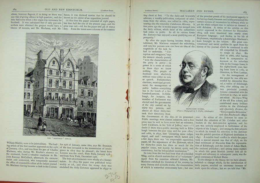 Print Edinburgh 1882 Scotsman Office Alexander Russel Man 274Ae114 Old Original