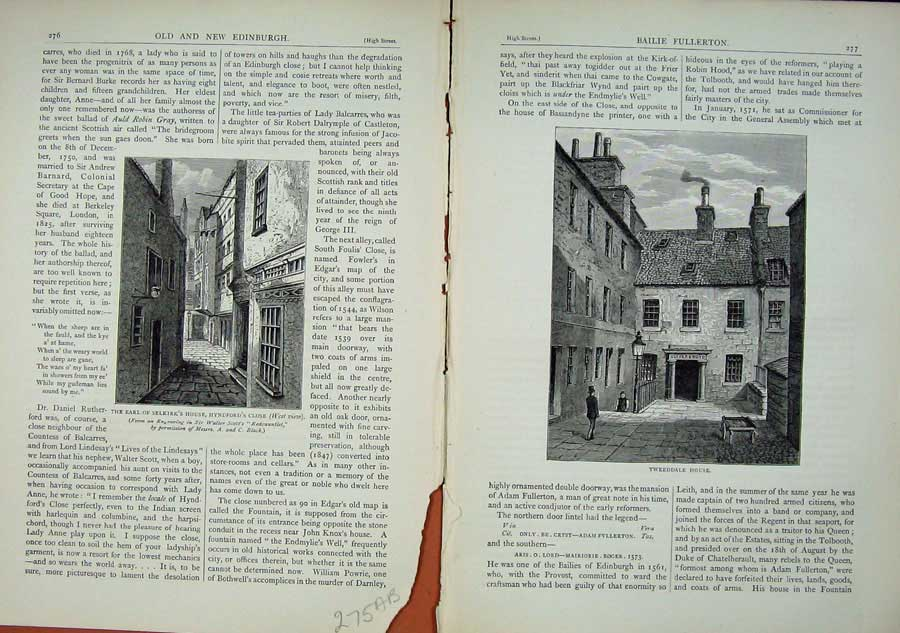 Print Edinburgh 1882 Earl Selkirk House Hyndford Tweeddale 275Ae114 Old Original