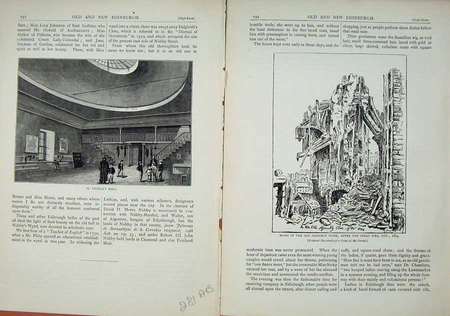 Print Edinburgh 1882 St Cecilia'S Hall Ruins Assembly 281Ae114 Old Original