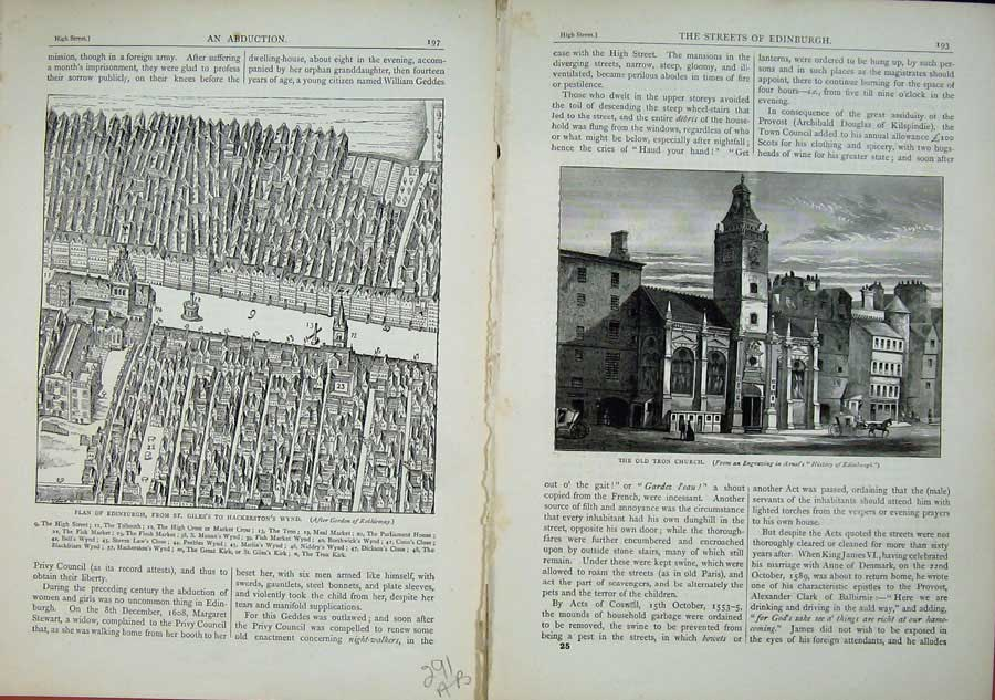 Print Edinburgh 1882 Plan St Giles'S Hackerston'S Tron Church 291Ae114 Old Original