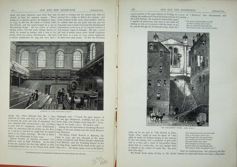 Print Edinburgh 1882 Justiciary Law Court Parliament Stairs 293Ae114 Old Original