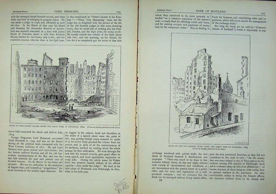 Print Edinburgh 1882 Ruins Parliament Great Fire Market Close 295Ae114 Old Original