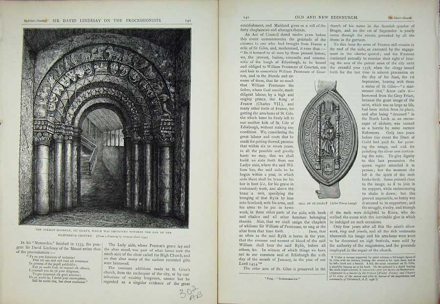 Print Edinburgh 1882 St Giles'S Norman Doorway Seal Scotland 302Ae114 Old Original