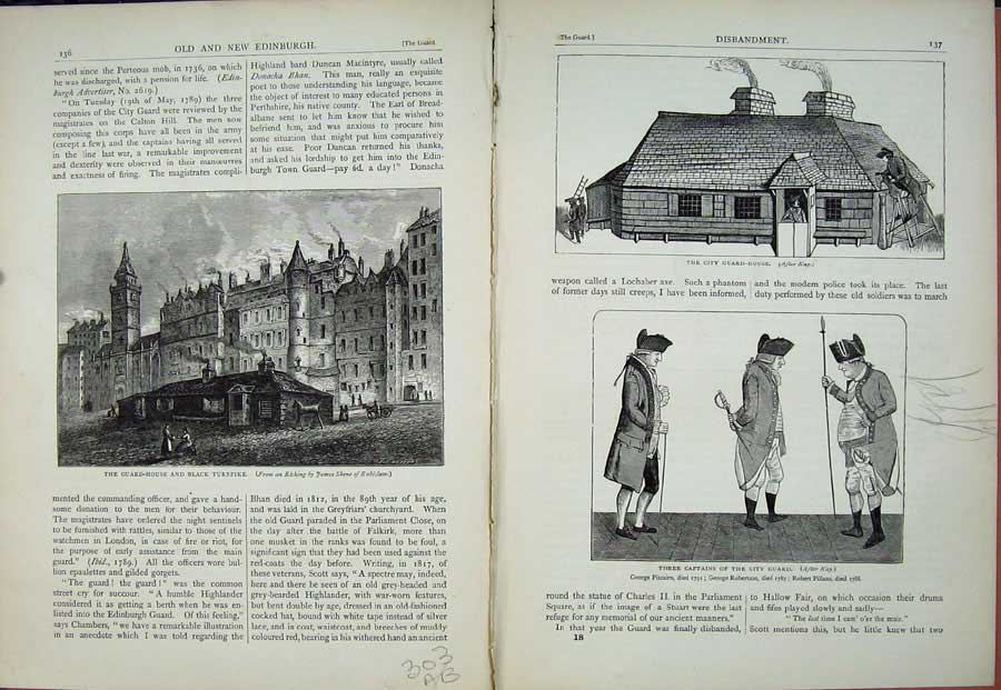 Print Edinburgh 1882 Guard House Turnpike Captains Scotland 303Ae114 Old Original