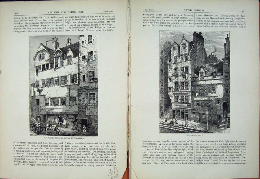 Print Edinburgh 1882 Timber House Lawnmarket Gladstone'S Land 309Ae114 Old Original