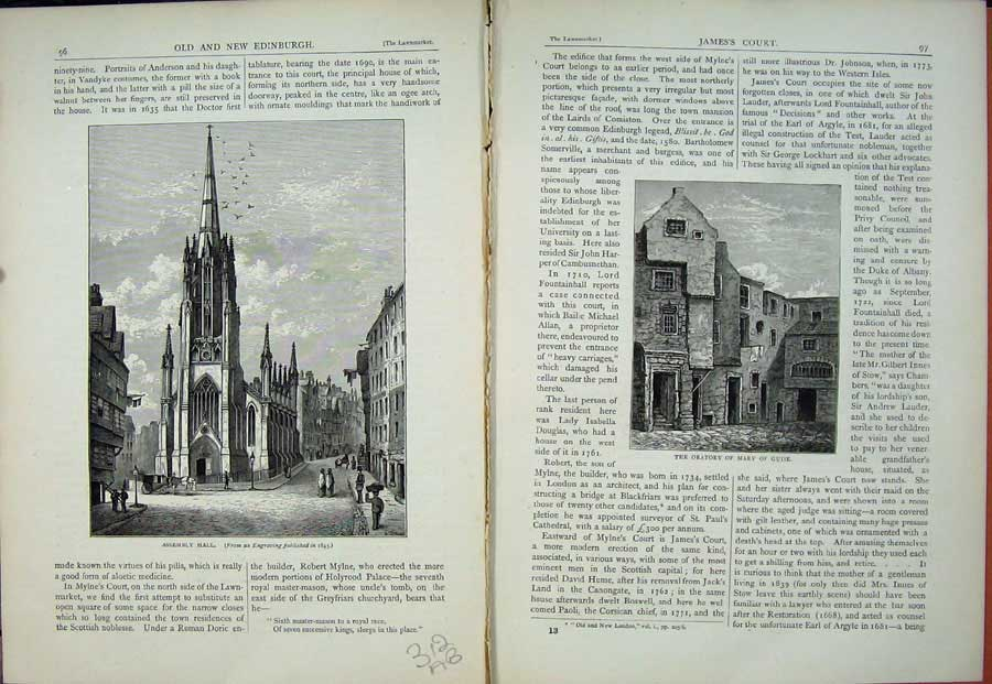 Print Edinburgh 1882 Assembly Hall Oratory Mary Guise 312Ae114 Old Original