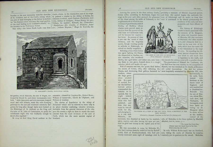 Print Edinburgh 1882 Margaret Chapel Castle Arms Tron Church 321Ae114 Old Original
